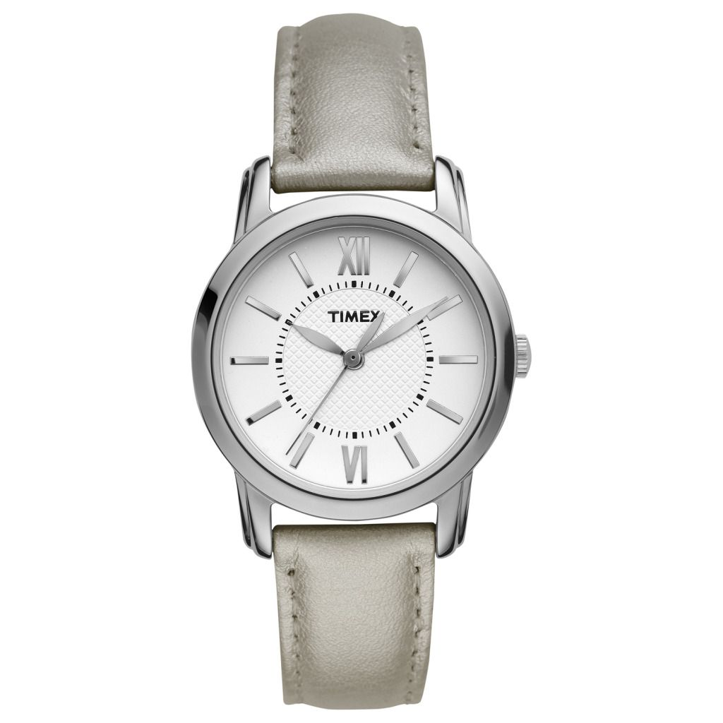 619-403 - Timex® Women's Quartz Silver-tone Leather Strap Watch