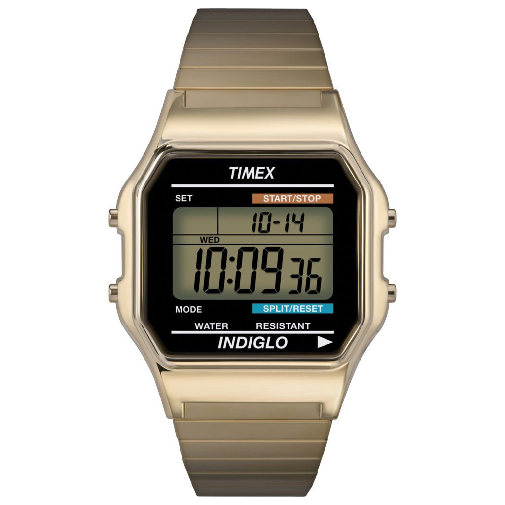 619-422 - Timex® 34mm Quartz Gold-tone Stainless Steel Expansion Bracelet Digital Watch