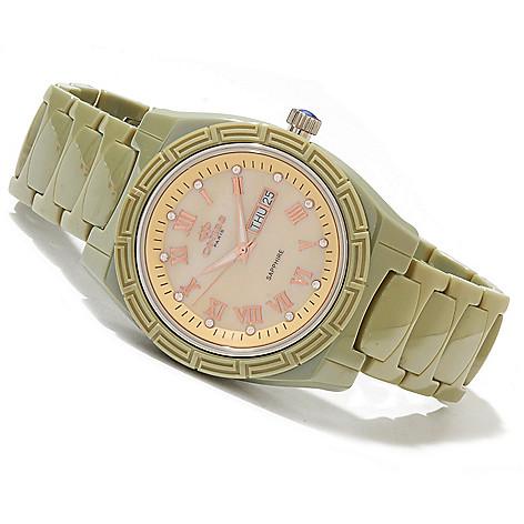 619-560 - Oniss Women's Dream Quartz Crystal Accented Ceramic Bracelet Watch