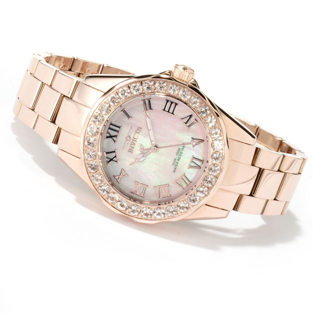 619-634 - Invicta Women's Angel Blush Quartz Morganite Bezel Stainless Steel Bracelet Watch