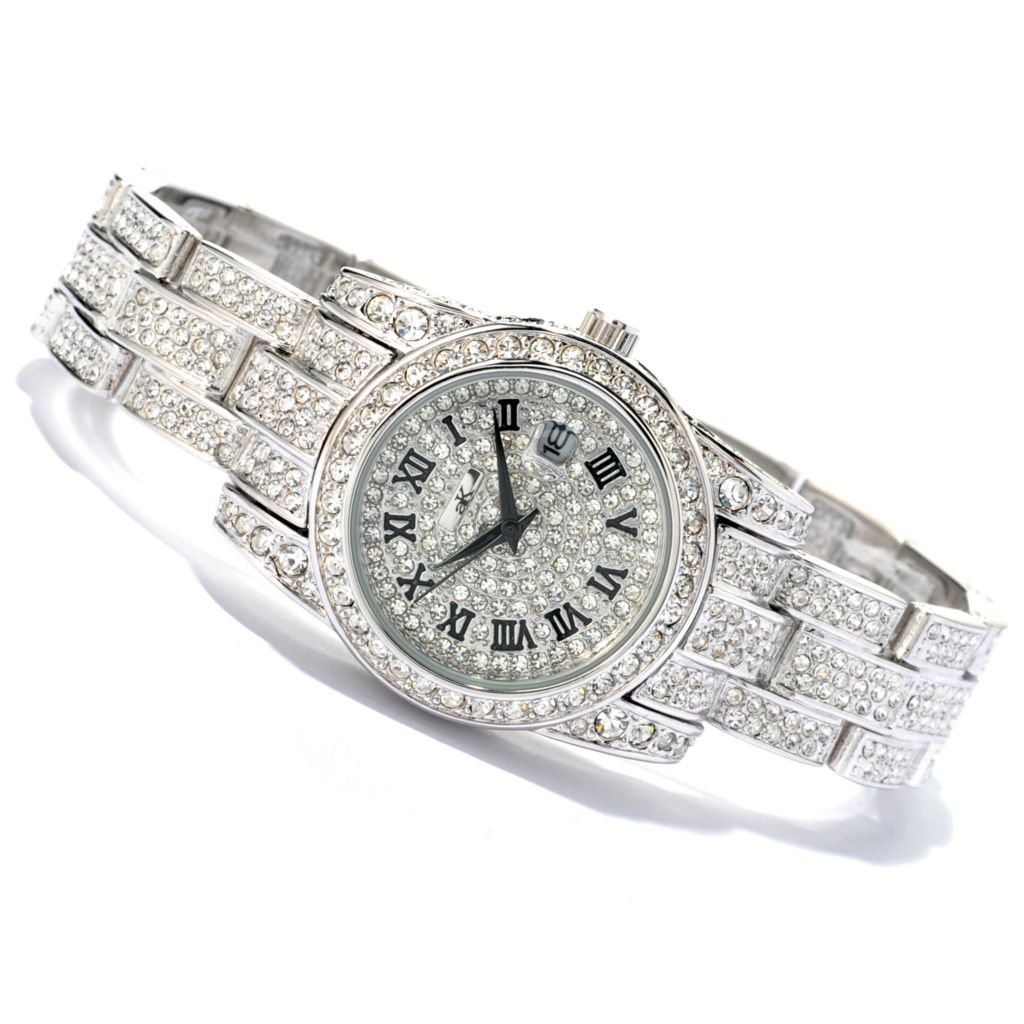 619-685 - Adee Kaye Women's Glaze Quartz Crystal Accented Bracelet Watch