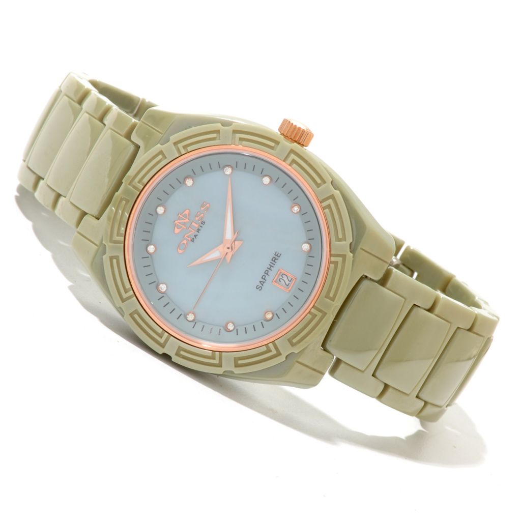 619-779 - Oniss Women's Dream Quartz Crystal Accented Ceramic Bracelet Watch