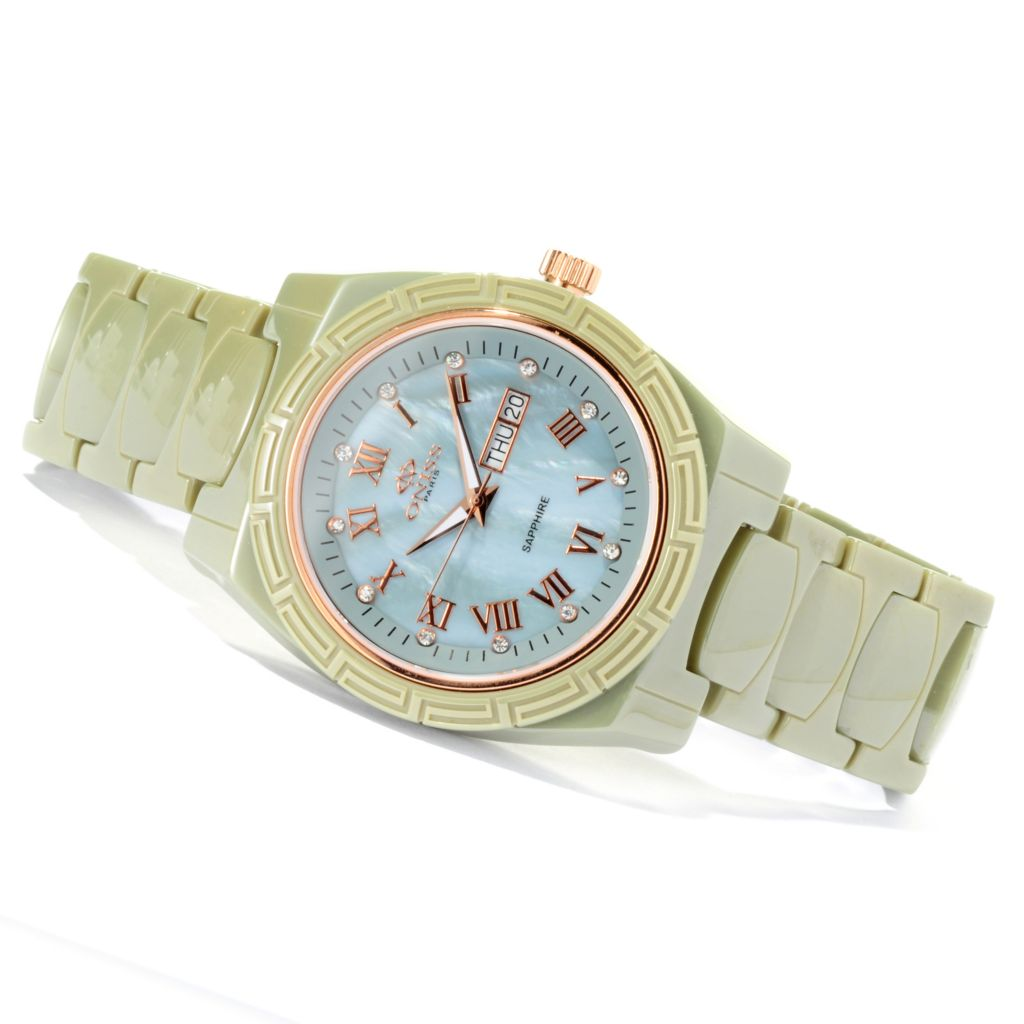 619-789 - Oniss Women's Dream Quartz Crystal Accented Ceramic Bracelet Watch