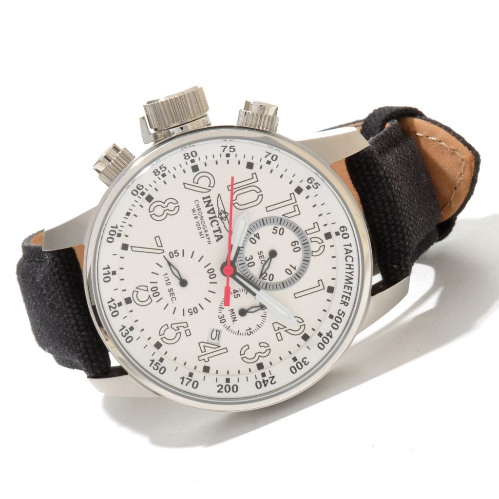 619-833 - Invicta 46mm I Force Quartz Chronograph Rifle Leather Strap Watch w/ Eight-Slot Dive Case
