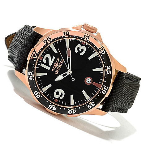 619-926 - Invicta 45mm Specialty Ocean Diver Quartz Leather Strap Watch w/ Eight-Slot Dive Case