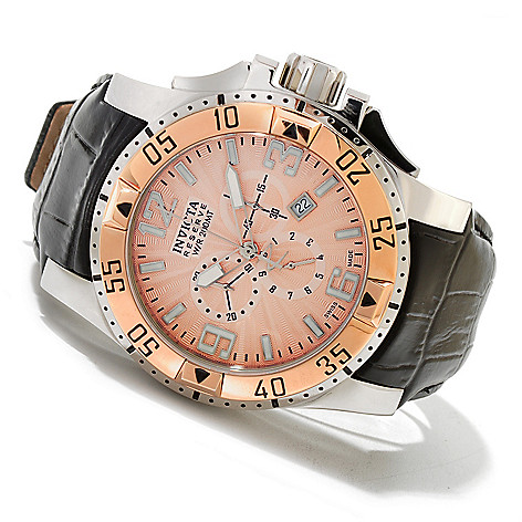 619-970 - Invicta Reserve Men's Excursion Elegant Swiss Quartz Chronograph Leather Strap Watch