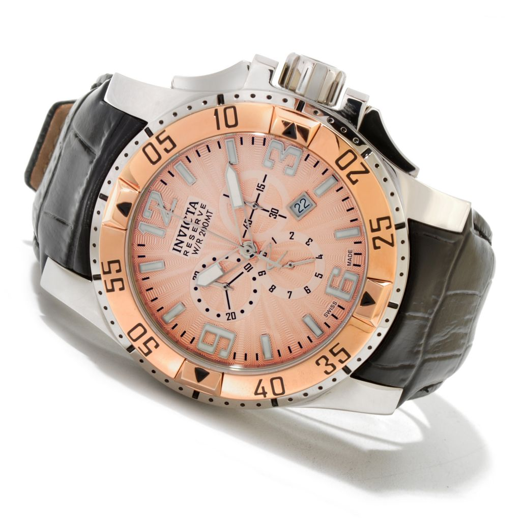619-970 - Invicta Reserve 50mm Excursion Elegant Swiss Quartz Chronograph Leather Strap Watch