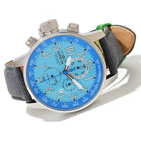 620-052 - Invicta 46mm I Force Quartz Chronograph Stainless Steel Rifle Leather Strap Watch
