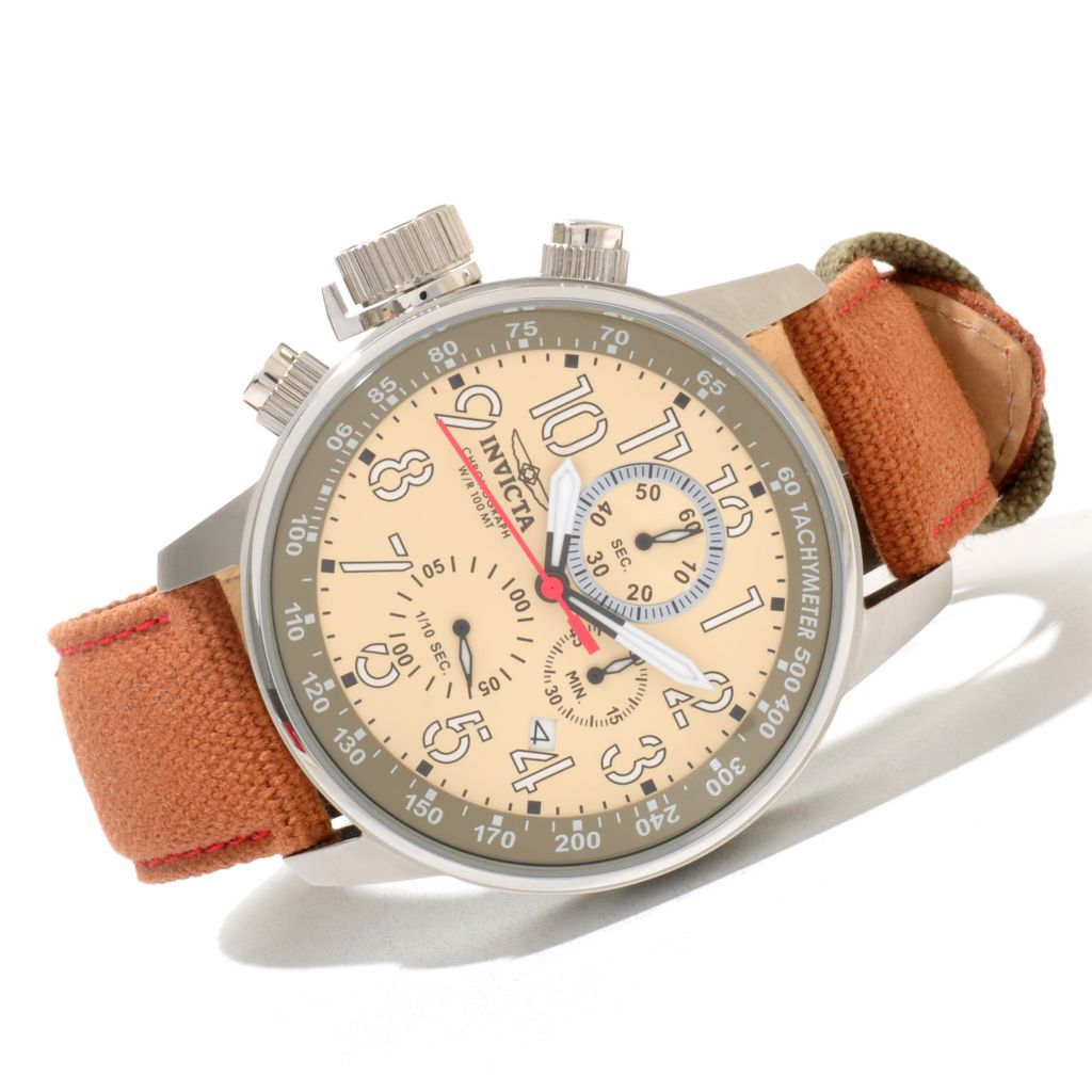 620-065 - Invicta Men's I Force Quartz Chronograph Stainless Steel Rifle Leather Strap Watch