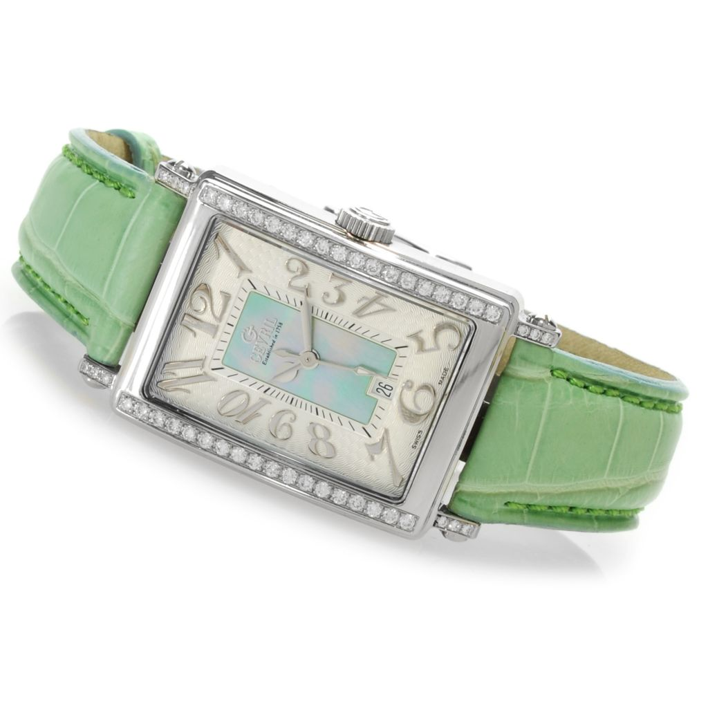 620-088 - Gevril Women's Avenue of Americas Mini Limited Edition Swiss Made Quartz Leather Strap Watch