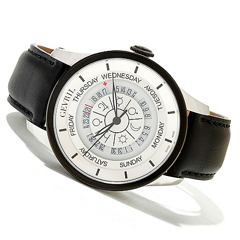 620-089 - Gevril Men's Columbus Circle Limited Edition Swiss Made Automatic Leather Strap Watch
