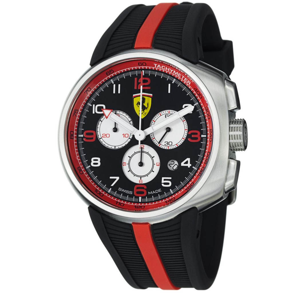 620-099 - Ferrari 44mm Fast Lap Swiss Made Quartz Chronograph Black Rubber Strap Watch