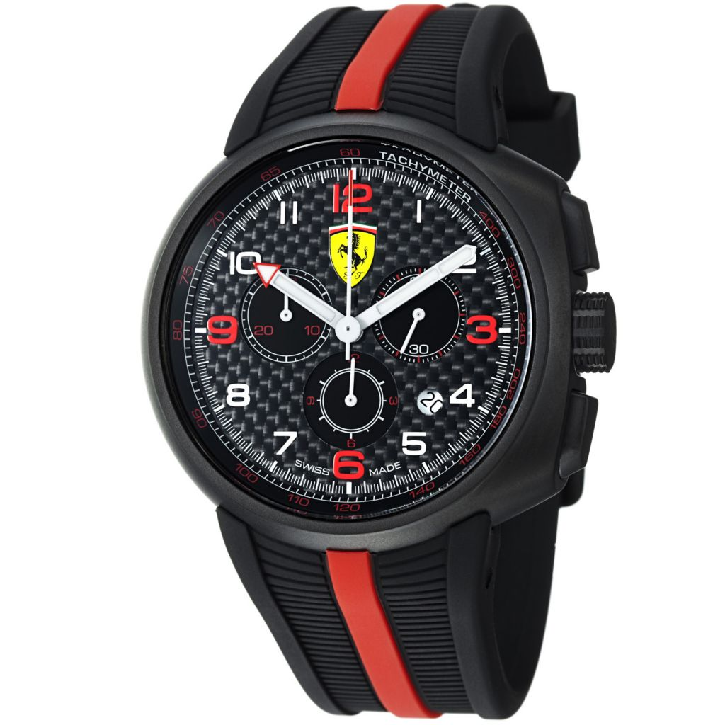 620-100 - Ferrari 44mm Fast Lap Swiss Made Quartz Chronograph Black Rubber Strap Watch