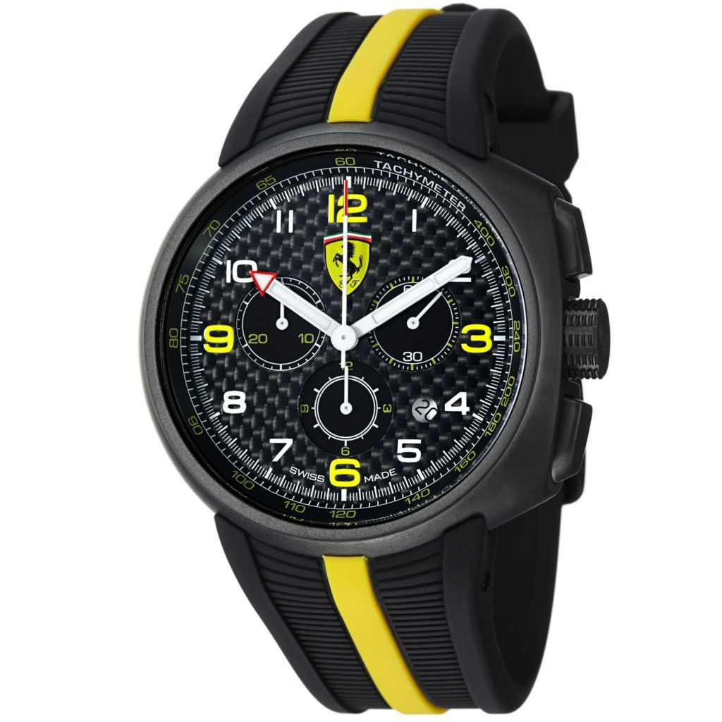 620-101 - Ferrari 44mm Fast Lap Swiss Made Quartz Chronograph Black Rubber Strap Watch