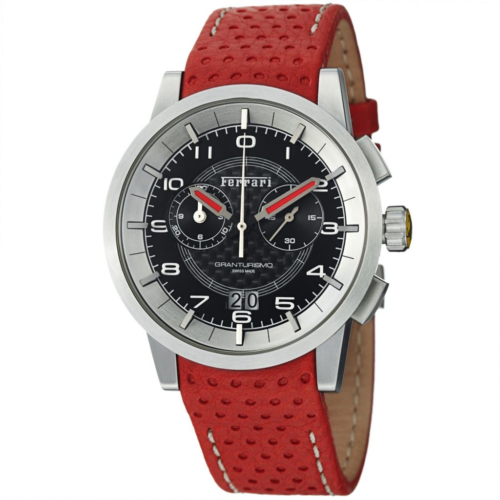 620-103 - Ferrari 44mm Granturismo Swiss Made Quartz Chronograph Perforated Leather Strap Watch