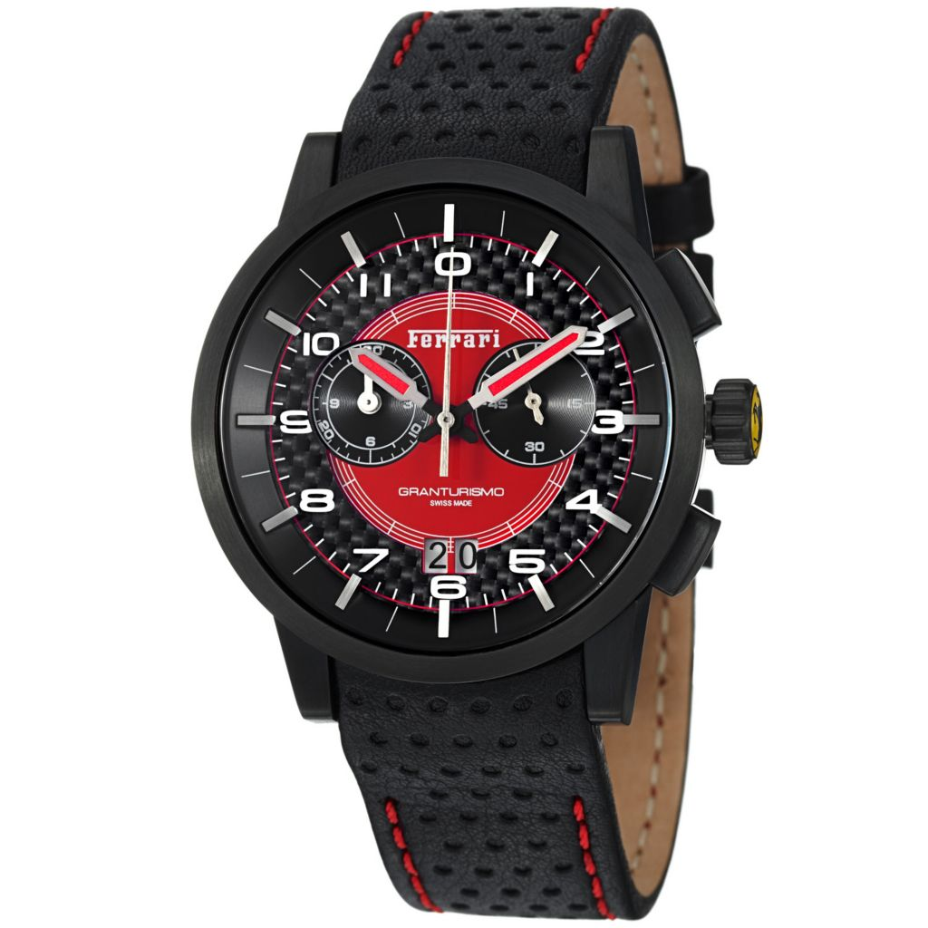 620-105 - Ferrari 44mm Granturismo Swiss Made Quartz Chronograph Perforated Leather Strap Watch