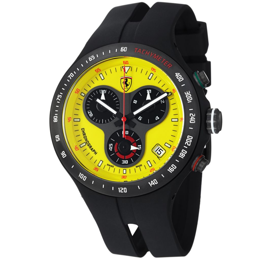 620-108 - Ferrari 44mm Jumbo Swiss Made Quartz Chronograph Black Rubber Strap Watch