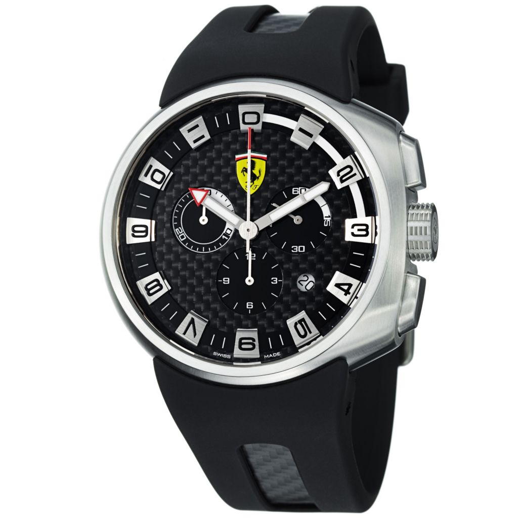 620-109 - Ferrari 44mm Podium Swiss Made Quartz Chronograph Black Rubber Strap Watch
