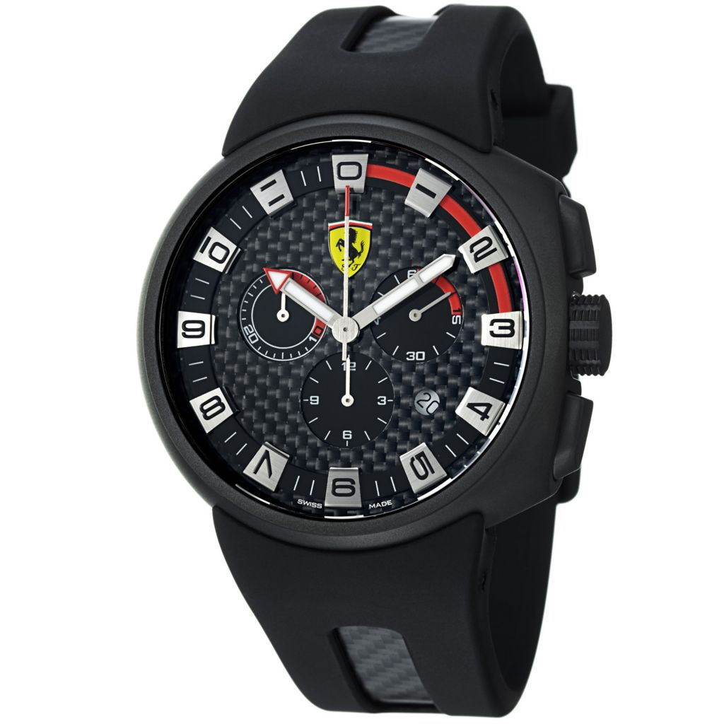 620-110 - Ferrari 44mm Podium Swiss Made Quartz Chronograph Black Rubber Strap Watch