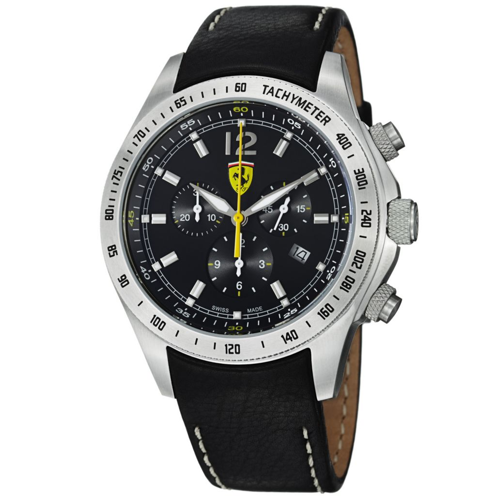 620-112 - Ferrari 44mm Scuderia Swiss Made Quartz Chronograph Black Leather Strap Watch
