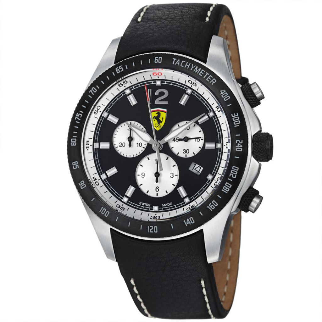 620-113 - Ferrari 44mm Scuderia Swiss Made Quartz Chronograph Black Leather Strap Watch