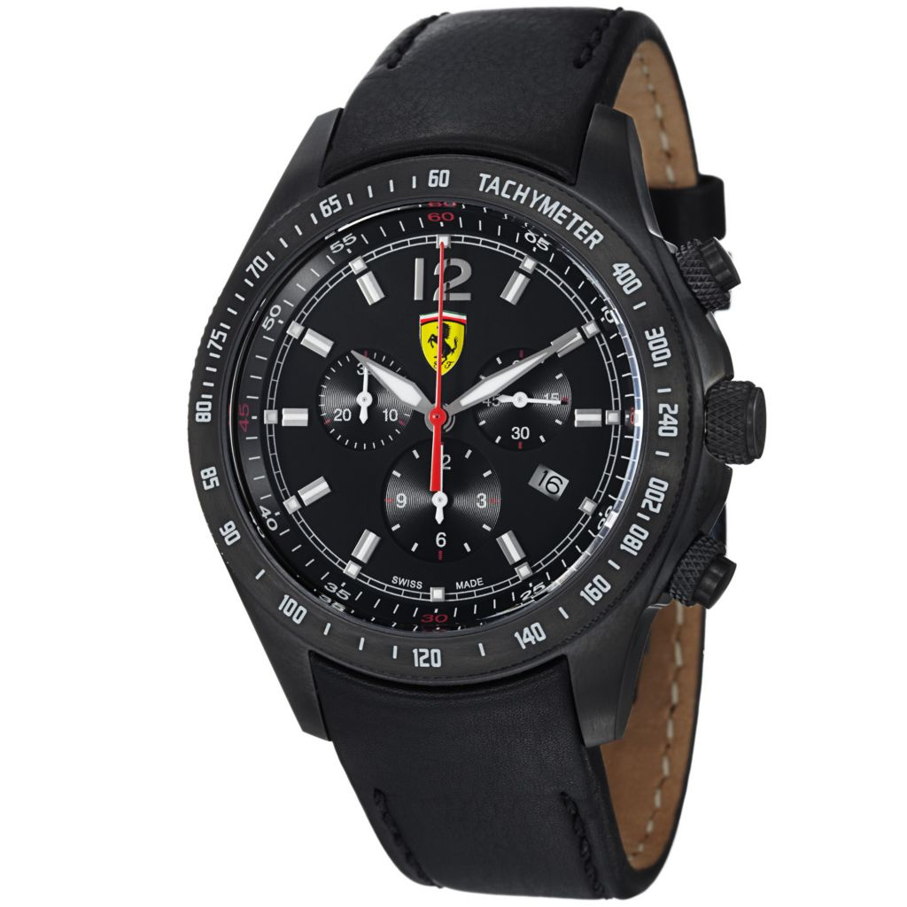 620-114 - Ferrari Men's Scuderia Swiss Made Quartz Chronograph Black Leather Strap Watch