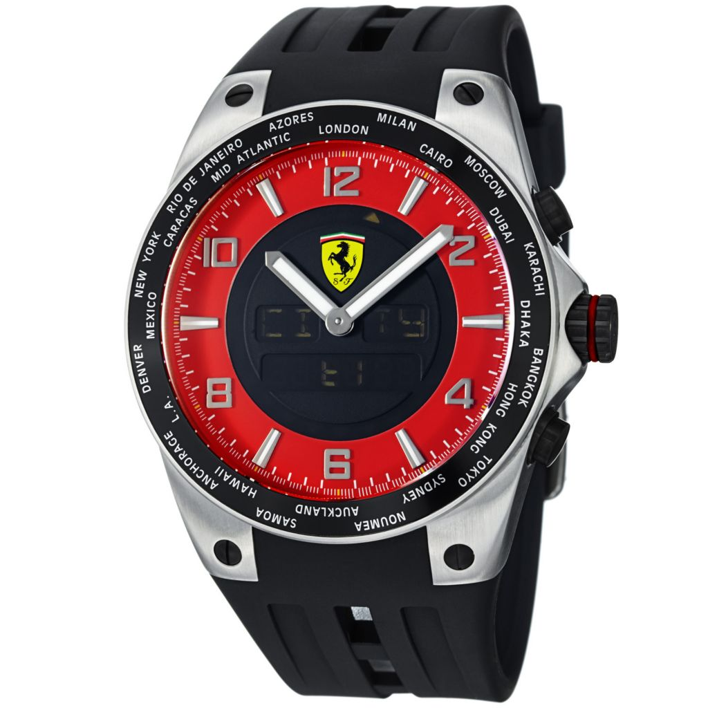 620-115 - Ferrari 42mm World Time Swiss Made Quartz Ana-Digi Chronograph Black Rubber Strap Watch