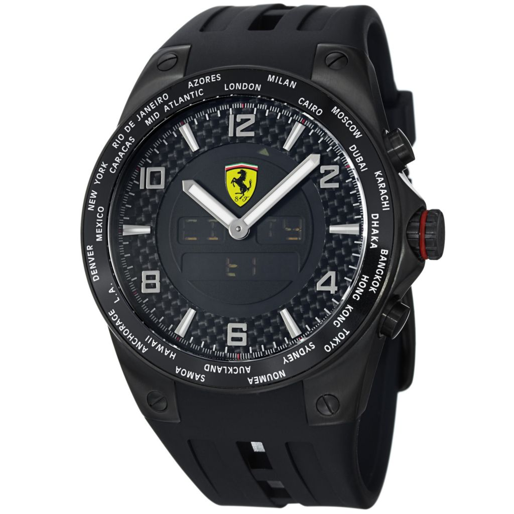 620-116 - Ferrari 45mm World Time Swiss Made Quartz Ana-Digi Chronograph Black Rubber Strap Watch