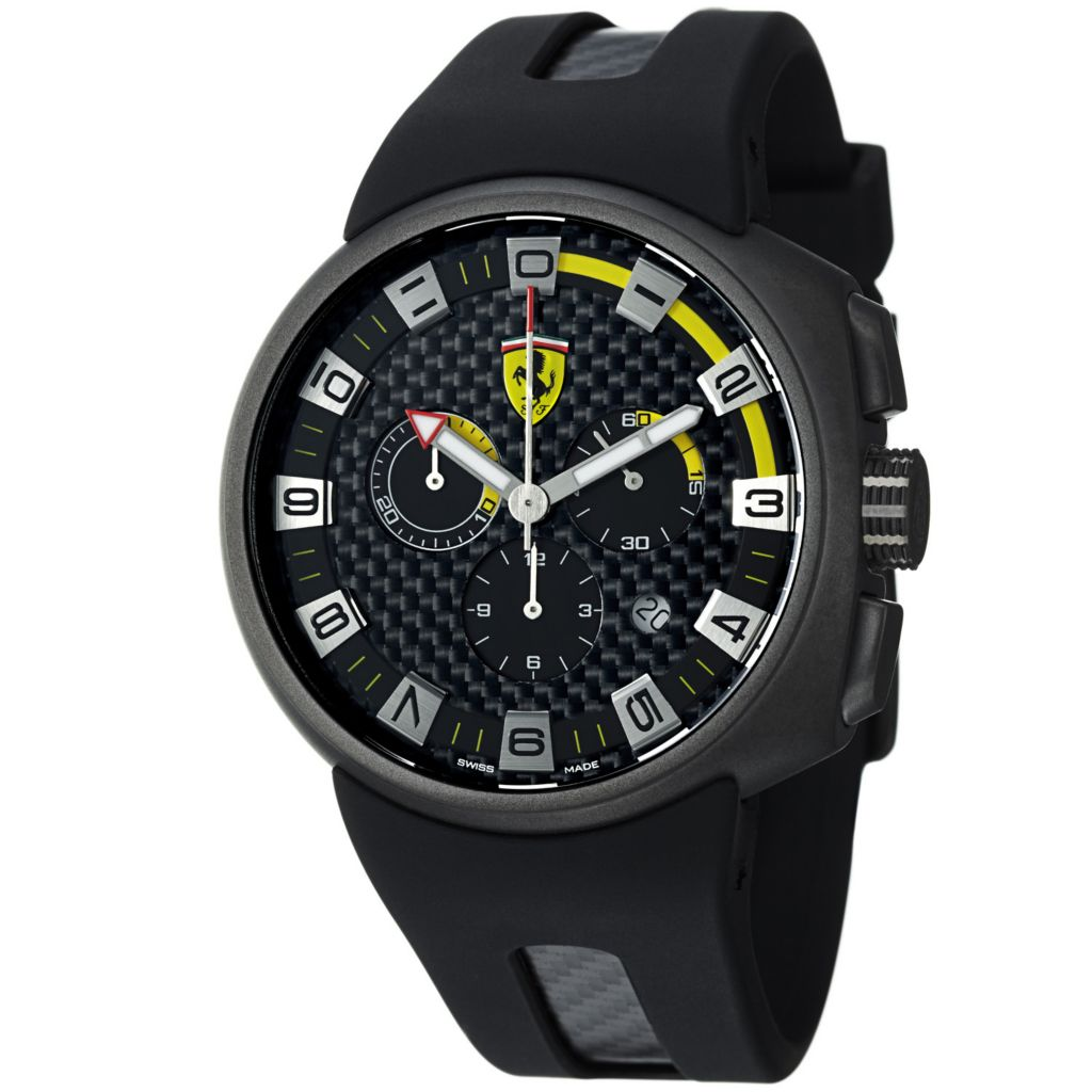 620-117 - Ferrari 44mm Podium Swiss Made Quartz Chronograph Black Rubber Strap Watch