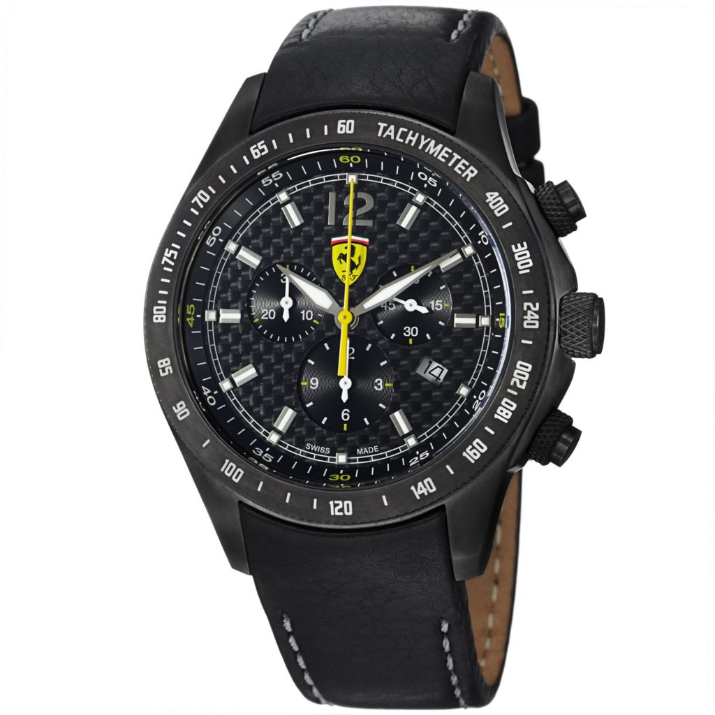620-118 - Ferrari Men's Scuderia Swiss Made Quartz Chronograph Black Leather Strap Watch