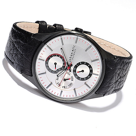 620-162 - Johan Eric Men's Streur Quartz Stainless Steel Leather Strap Watch