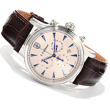 620-186 - S. Coifman Men's Swiss Made Quartz Chronograph Stainless Steel Case Leather Strap Watch