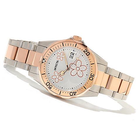 620-276 - Invicta Women's Pro Diver Flower Quartz Stainless Steel Bracelet Watch w/ Three-Slot Travel Box
