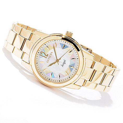 620-313 - Invicta Women's Angel Mosaic Quartz Mother-of-Pearl Stainless Steel Bracelet Watch