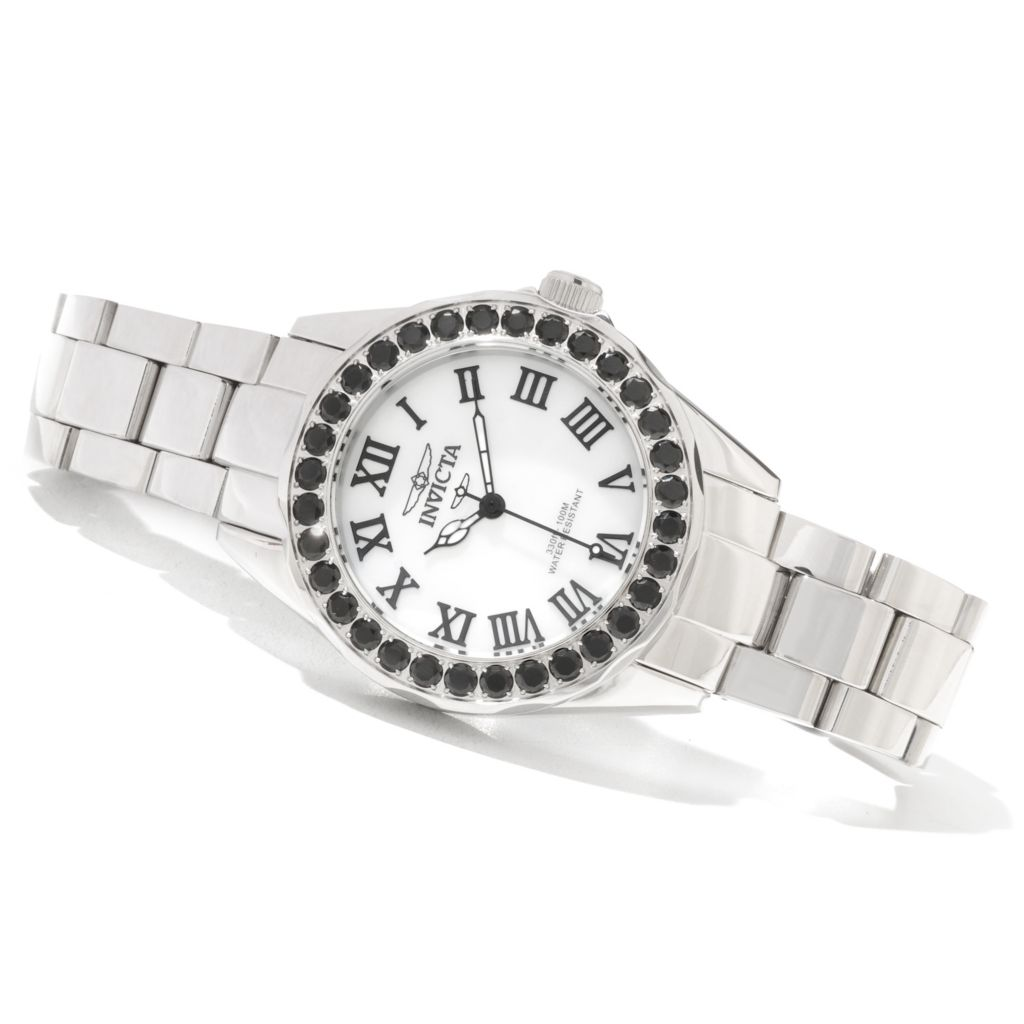 620-366 - Invicta Women's Angel Quartz Limited Edition Mother-of-Pearl Black Spinel Bracelet Watch