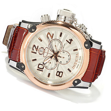 620-401 - Invicta Men's Russian Diver Elegant Swiss Made Quartz Chronograph Genuine Leather Strap Watch