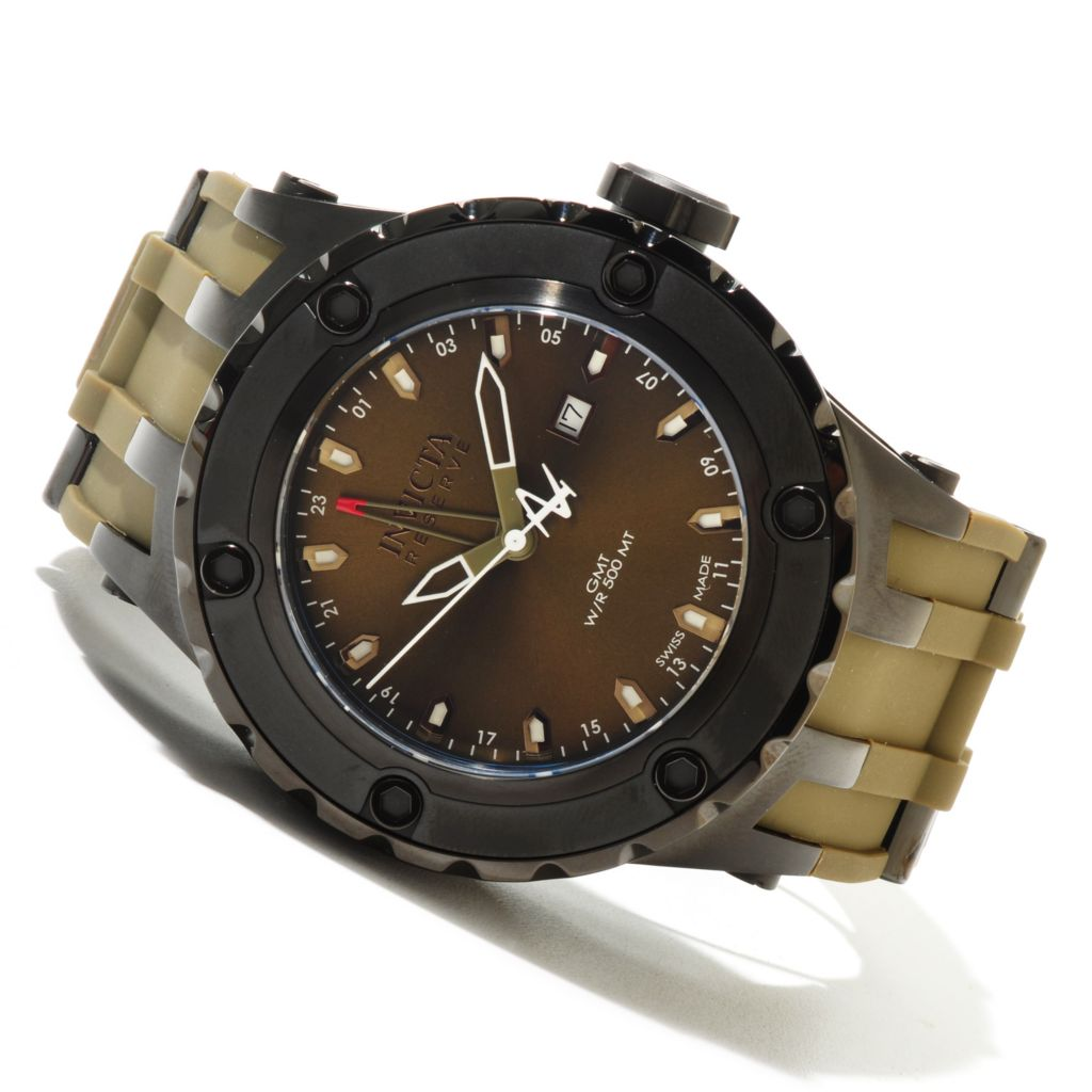 620-420 - Invicta Reserve 52mm Specialty Subaqua Swiss Made Quartz GMT Polyurethane Strap Watch