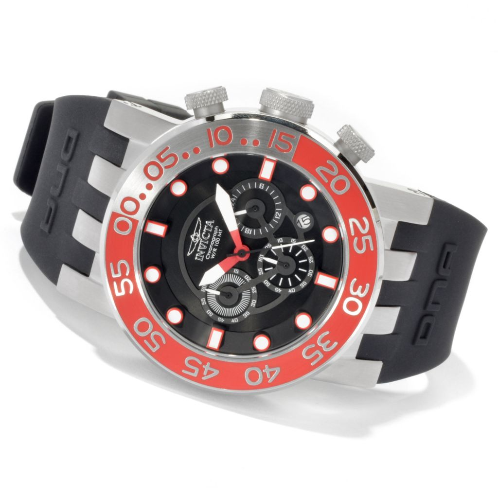 620-424 - Invicta 46mm DNA Diver Quartz Stainless Steel Silicone Strap Watch w/ Three-Slot Dive Case