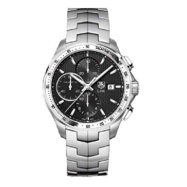 620-448 - Tag Heuer 43mm Link Swiss Automatic Chronograph Stainless Steel Bracelet Watch