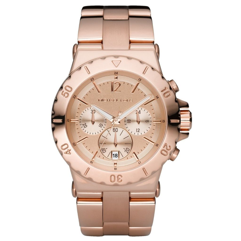 620-451 - Michael Kors Women's Quartz Chronograph Rose-tone Stainless Steel Bracelet Watch