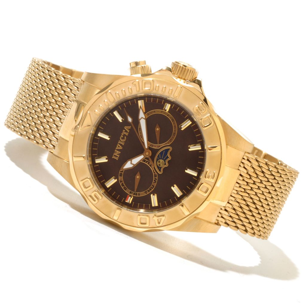 620-470 - Invicta Men's Sea Wizard Quartz Mother-of-Pearl Dial Stainless Steel Mesh Bracelet Watch