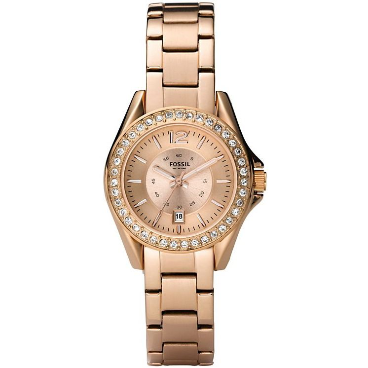 620-536 - Fossil Women's Mini Riley Crystal Glitz Quartz Rose-tone Stainless Steel Bracelet Watch