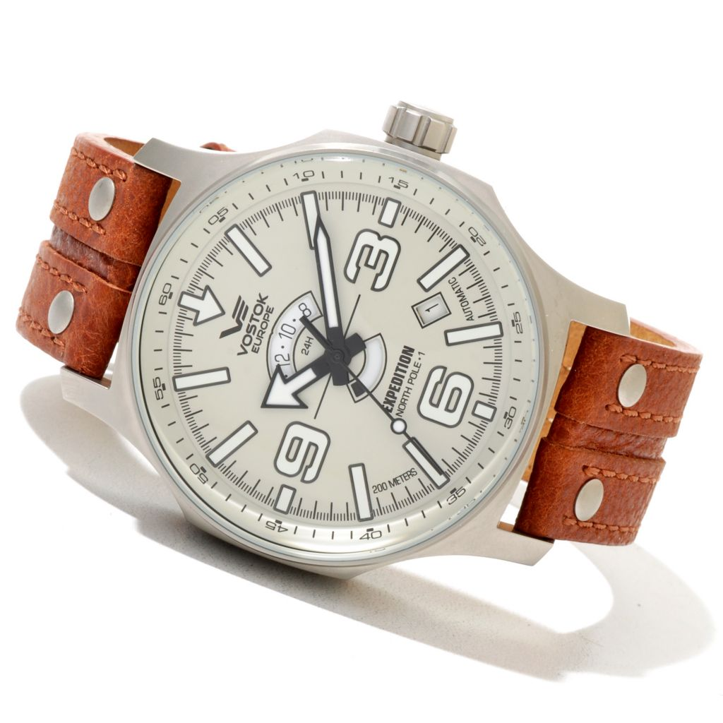 620-671 - Vostok-Europe Men's Expedition North Pole-1 Limited Edition Automatic Leather Strap Watch