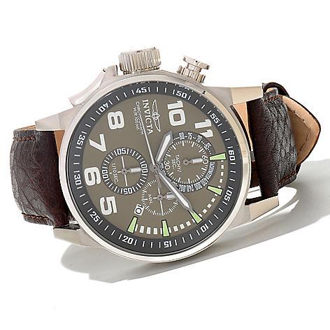 620-720 - Invicta Men's I Force Quartz Chronograph Leather Strap Watch w/ Three-Slot Collector's Box