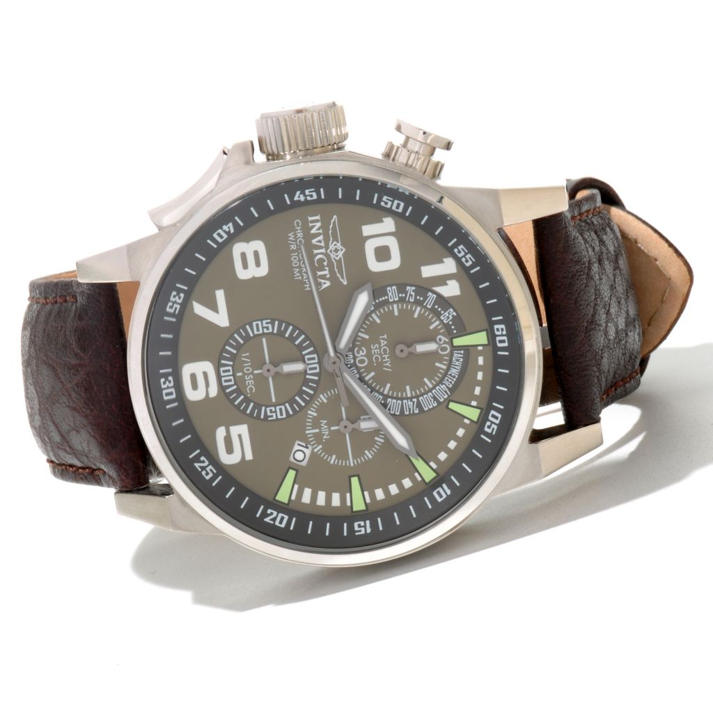 620-720 - Invicta Men's I Force Quartz Chronograph Leather Strap Watch w/ Three-Slot Collector's Box