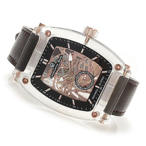 620-835 - Constantin Weisz Men's Mechanical Skeletonized Leather Strap Watch