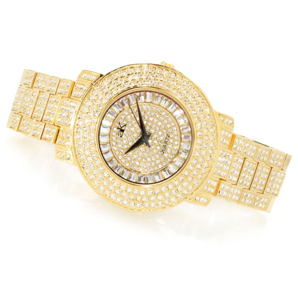 620-883 - Adee Kaye Mid-Size Crown Quartz Crystal Accented Bracelet Watch