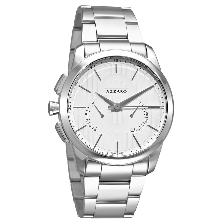 620-909 - Azzaro Men's Legend Swiss Made Quartz Retrograde Stainless Steel Bracelet Watch