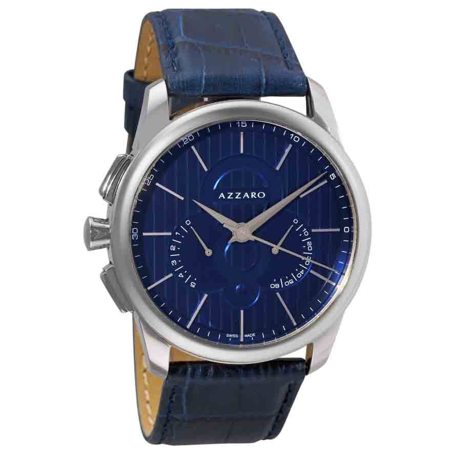 620-911 - Azzaro Men's Legend Swiss Made Quartz Retrograde Leather Strap Watch