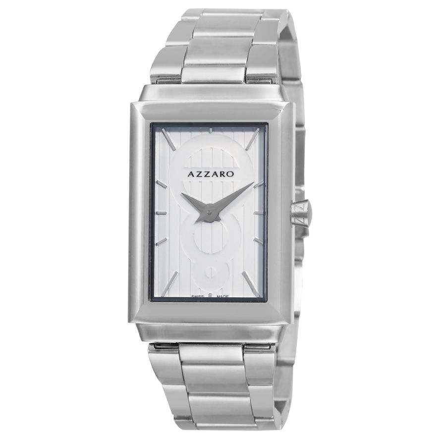620-928 - Azzaro Legend Rectangular Men's Swiss Quartz Steel Bracelet Watch